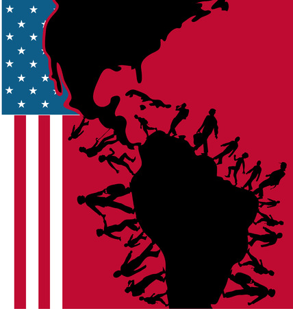 immigration people silhouette moving to usa on flag  Illustration