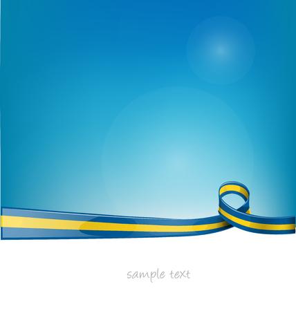 sweden ribbon flag on blue sky background