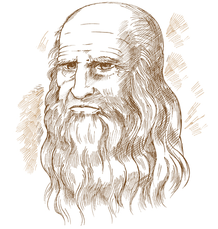 Hand drawn vector portrait. Leonardo Da Vinci Stockfoto - 118846146