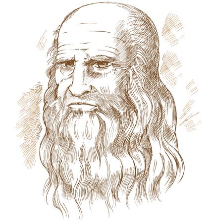 Portrait de vecteur dessiné à la main. Léonard de Vinci Vecteurs