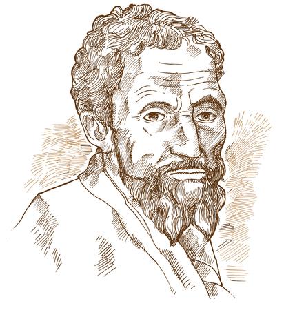 Hand drawn vector portrait. Michelangelo