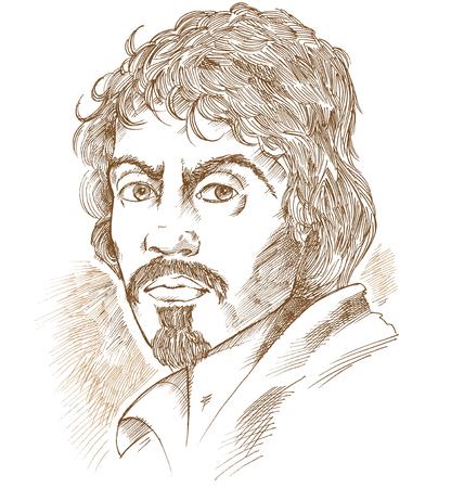 Retrato de vector dibujado a mano.Caravaggio