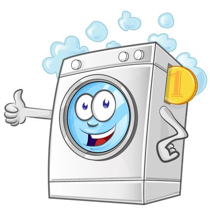 Dibujos animados de servicio de lavandería con monedas. ilustrador vectorial