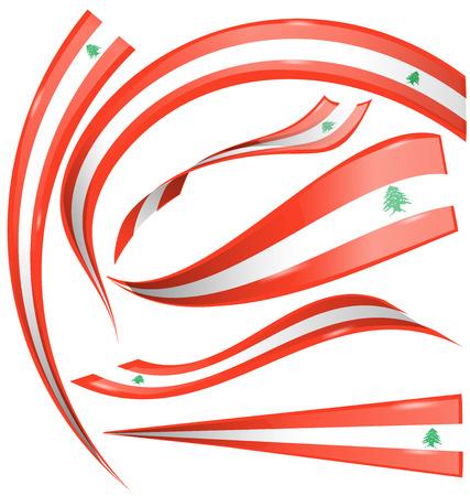 lebanon flag set isolated on white background