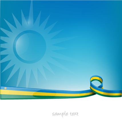 rwanda ribbon flag on blue sky background