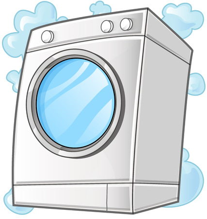 washing machine. Vector clip art illustration isolated on white background