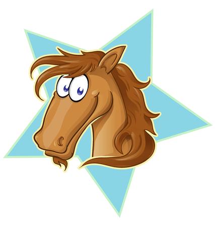 Brown Horse face  cartoon . Vector Illustration on star