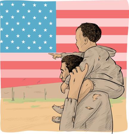 padre e hijo inmigrante delante de la bandera de Estados Unidos