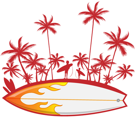 surfboard with palm tree isoalted on white. vector illustration
