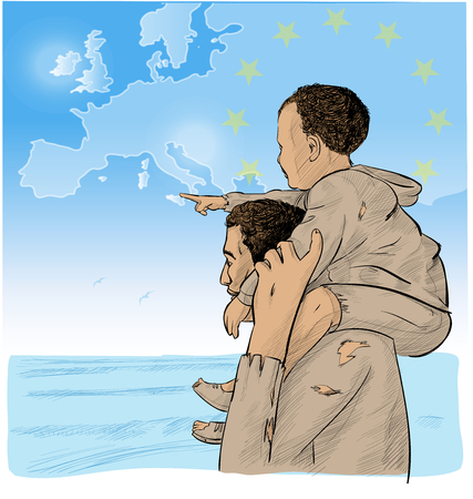 father and son immigrants in front of the European map. vector illustration