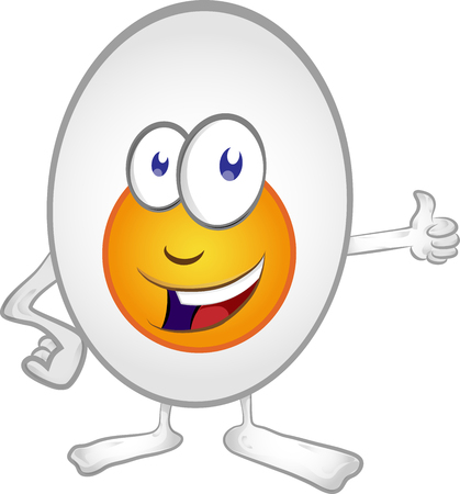 Happy Egg Cartoon Mascot Character . Vector Illustration Isolated On White Background