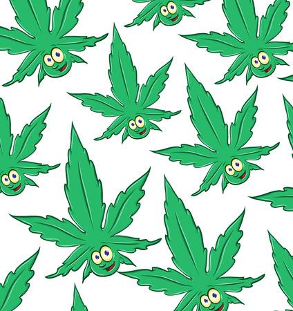 fun Marijuana cartoon pattern background