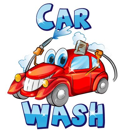 Vector sign. Car wash character cartoon. vector illustration Illustration