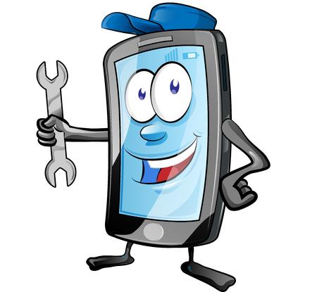 Een mobiele reparatieservice voor smartphones of een monteur app stripfiguur mascotte die sleutel vasthoudt en geeft. illustraties vectorillustratie