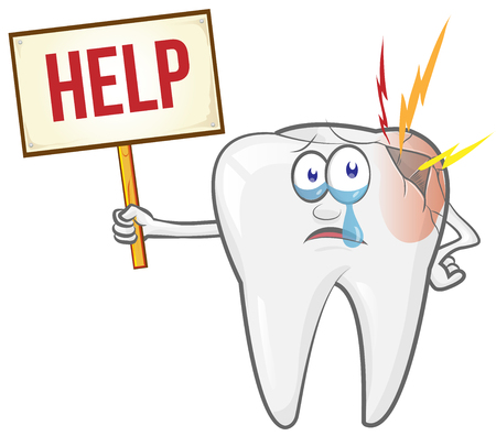 Cute cartoon tooth feels bad. Dental care