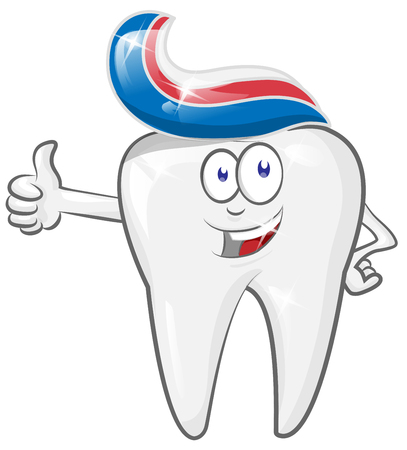 Glad strong  cheerful cartoon tooth character with toothpaste. vector illustration