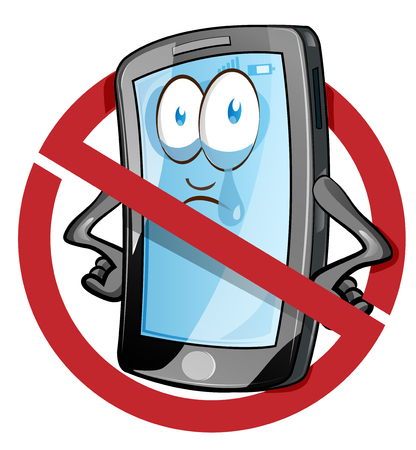 Mobile cell phone in cartoon vector style inside red banned icon. Clip Art Vector illustration Ilustração