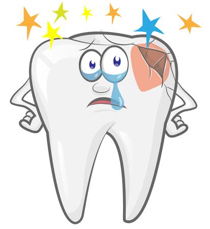 cartoon tooth mascot  Feel bad.,dental caries. vector illustration Banco de Imagens - 121910829