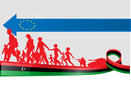 immigration libyan people to europe, vetcor illustration Ilustracja