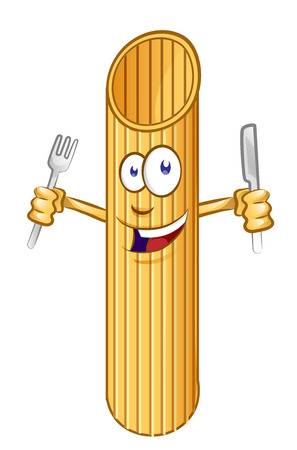 penne pasta Cute comic character. clip vetcor illustration