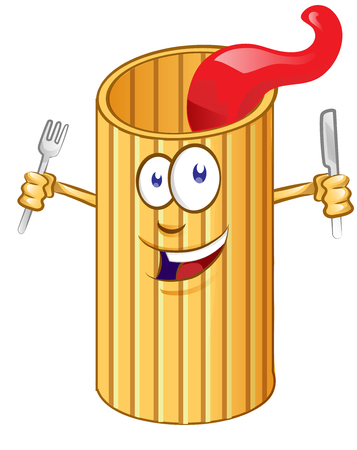 Rigatone pasta Cute comic character. clip art vector illustration Ilustracja