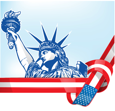 USA flag with statue of liberty.clip art illustration Ilustracja