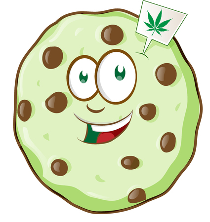 cartoon mascot cookie with marijuana flavor. vetcor illustration