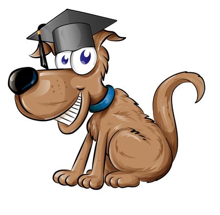 dog mascot character with Graduation cap hat