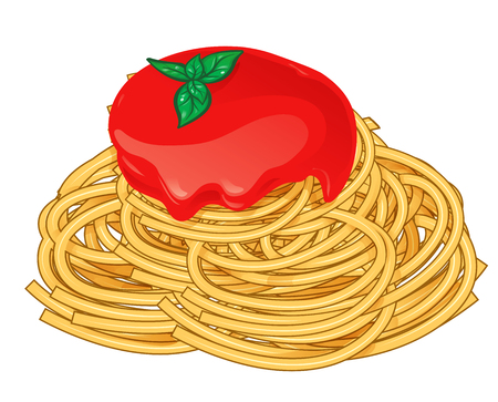 Spaghetti with tomato and basil isolated on white vector illustration Imagens - 122457477