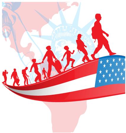 Drapeau des Etats-Unis avec des personnes d'immigration sur la map.illustration américaine