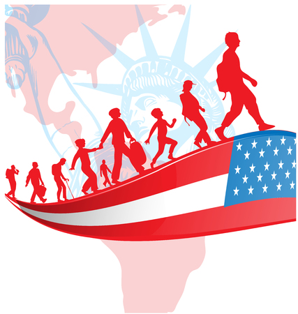USA flag with immigration people on american map.illustration  Illustration