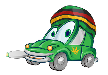 Jamaican car cartoon isolated on white background Ilustracja