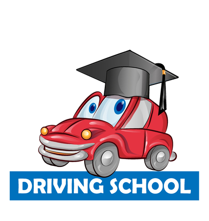 Fahrschule Auto Cartoon isoliert auf weiss
