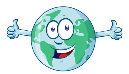 Earth cartoon character earth day mascot thumbs up Ilustracja