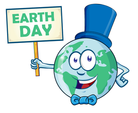 Happy Earth Day. Planet earth cartoon character with signboard Ilustracja