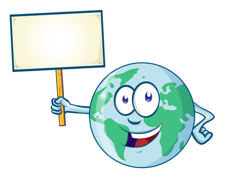 World mascot cartoon with the signboard. Clip art illustration Ilustracja