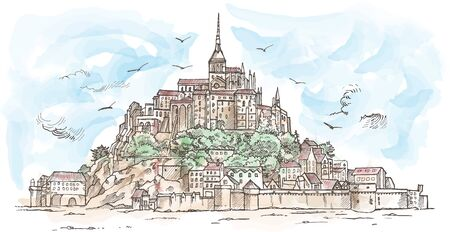 Le Mont Saint Michel ,France. Hand drawn sketch watercolor. illustration in vector