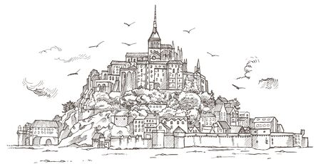 Le Mont Saint Michel ,Normandy, France. Hand drawn sketch illustration in vector Ilustracja
