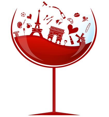 glass of france red wine with symbol element