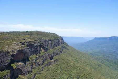 eucalyptus valley between rocky ranges at blue mountains in Australia