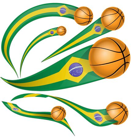 brazil flag element with basketball Ilustracja