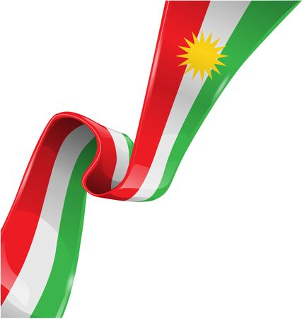 kurdistan ribbon flag on white background  Ilustracja