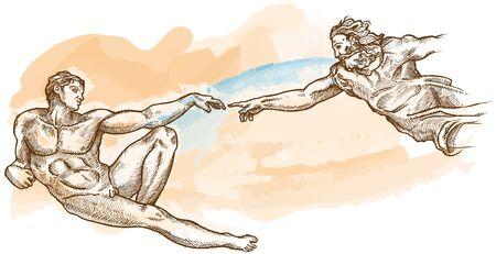 Creation of Adam watercolor hand drawn. illustration