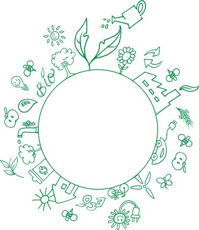 eco symbols around an empty circle Ilustracja