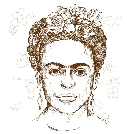 hand drawn portrait of frida kahloi. illustration
