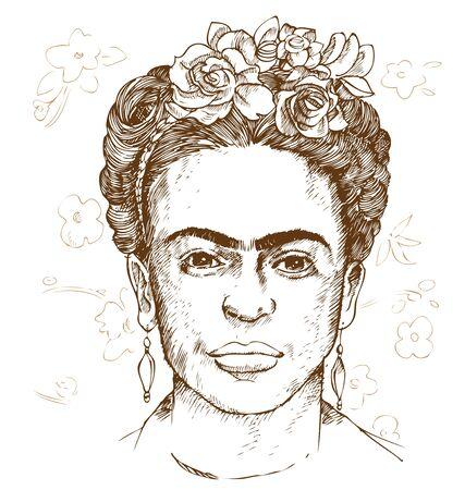 portrait dessiné à la main de frida kahloi. illustration