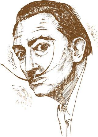 ręcznie rysowane portret salvador dali. ilustracja