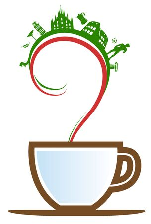 italian cup coffee with element and flag. illustration