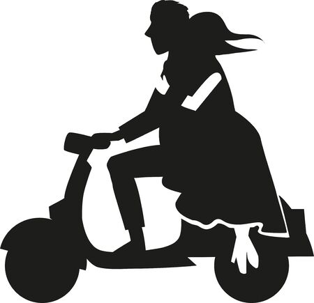 silhouette couple over a motorcycle. illustration