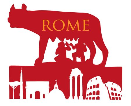 The Symbol Of Rome, Capitoline Wolf with roman monument